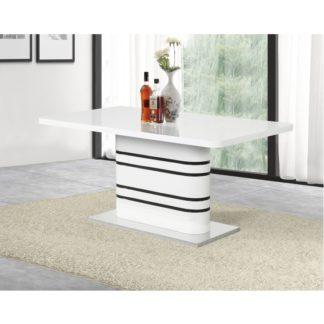 Jídelní rozkládací stůl TUBAL bílá vysoky lesk HG / černé pásky Tempo Kondela
