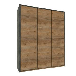 Šatní skříň třídveřová MONTANA S3D dub lefkas tmavý / smooth šedý Tempo Kondela