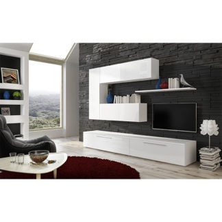 Obývací stěna ARIZONA bílá / bílý extra vysoký lesk HG Tempo Kondela