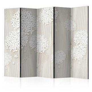 Paraván Paper Dandelions Dekorhome 225x172 cm (5-dílný)