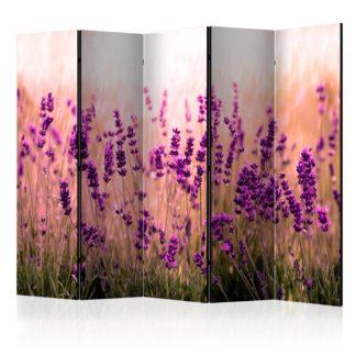 Paraván Lavender in the Rain Dekorhome 225x172 cm (5-dílný)