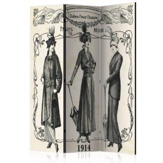Paraván Dress 1914 Dekorhome 135x172 cm (3-dílný)