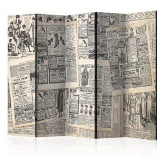 Paraván Vintage Newspapers Dekorhome 225x172 cm (5-dílný)