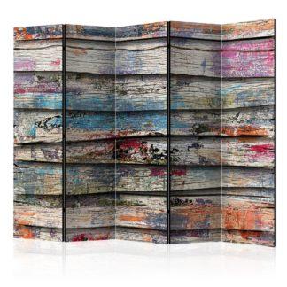 Paraván Colourful Wood Dekorhome 225x172 cm (5-dílný)