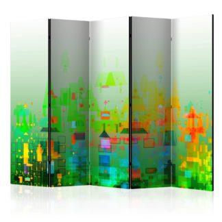 Paraván Abstract City Dekorhome 225x172 cm (5-dílný)