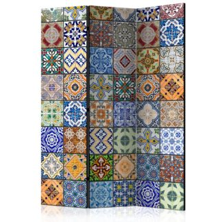 Paraván Colorful Mosaic Dekorhome 135x172 cm (3-dílný)