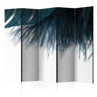 Paraván Dark Blue Feather Dekorhome 225x172 cm (5-dílný)