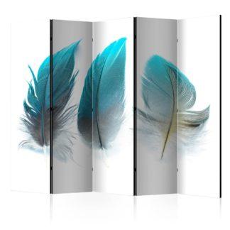 Paraván Blue Feathers Dekorhome 225x172 cm (5-dílný)