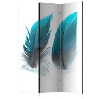 Paraván Blue Feathers Dekorhome 135x172 cm (3-dílný)