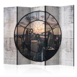 Paraván NYC Time Zone Dekorhome 225x172 cm (5-dílný)