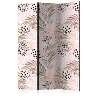 Paraván Pink Palm Leaves Dekorhome 135x172 cm (3-dílný)