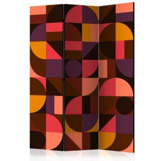 Paraván Geometric Mosaic (Red) Dekorhome 135x172 cm (3-dílný)