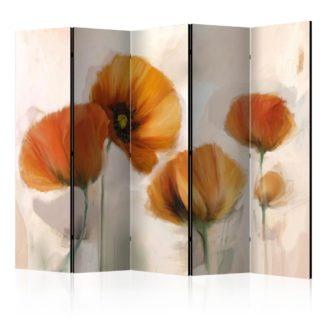 Paraván poppies - vintage Dekorhome 225x172 cm (5-dílný)