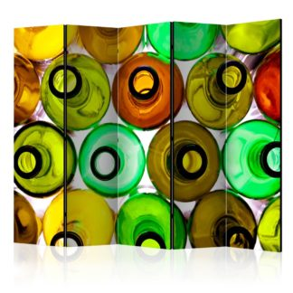 Paraván Bottles (background) Dekorhome 225x172 cm (5-dílný)