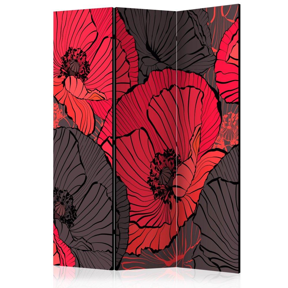 Paraván Pleated poppies Dekorhome 135x172 cm (3-dílný)
