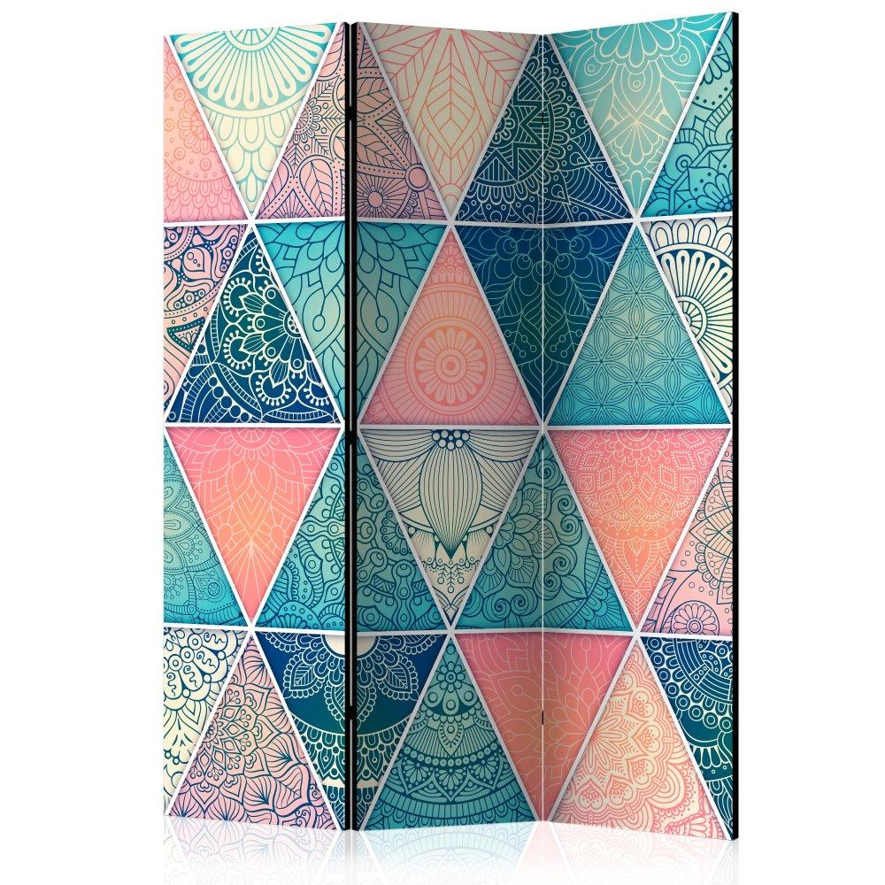 Paraván Oriental Triangles Dekorhome 135x172 cm (3-dílný)