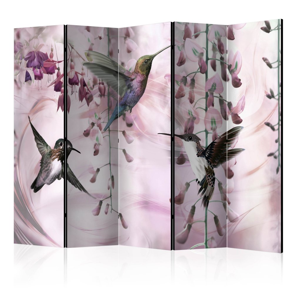Paraván Flying Hummingbirds (Pink) Dekorhome 225x172 cm (5-dílný)
