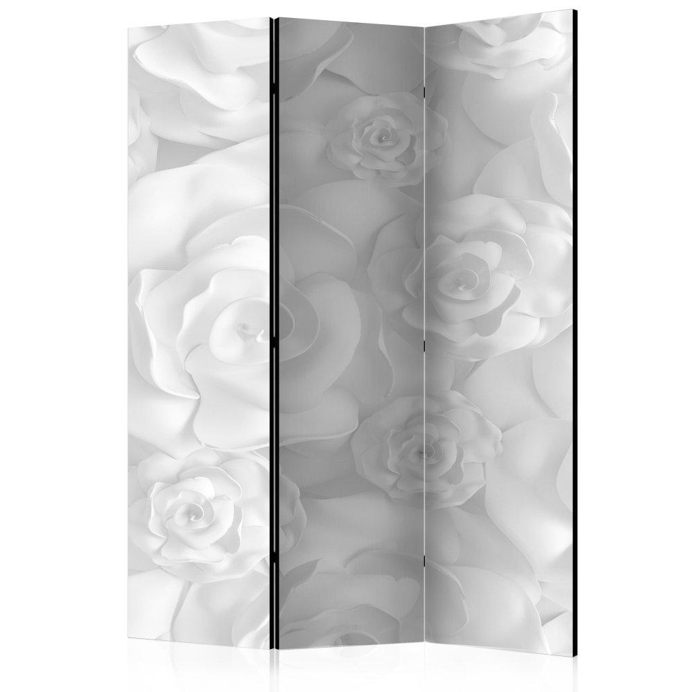 Paraván Plaster Flowers Dekorhome 135x172 cm (3-dílný)