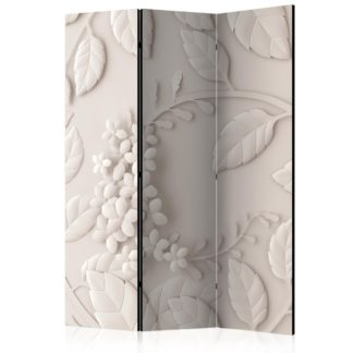 Paraván Paper Flowers (Cream) Dekorhome 135x172 cm (3-dílný)