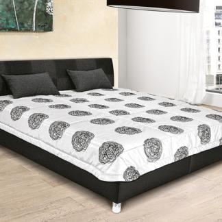 Postel Nice 160x200 cm, černá ekokůže/antracitová tkanina