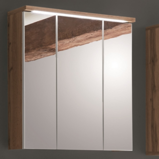Koupelnová skříňka se zrcadlem Spalt, divoký dub wotan, LED osvětlení
