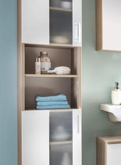 Koupelnová vysoká skříňka Porto, dub sonoma/bílá