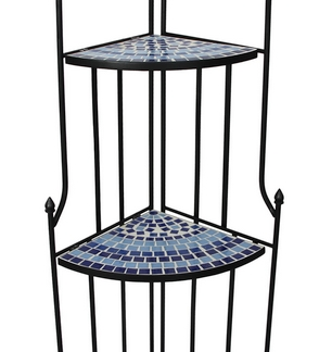 Rohový regál, FS6849-02, černý/modrý
