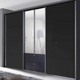 Šatní skříň Kombino, šedá/šedé sklo