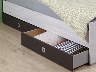 Sada úložných zásuvek pod postel Cariba, bělený dub/lávová, na kolečkách