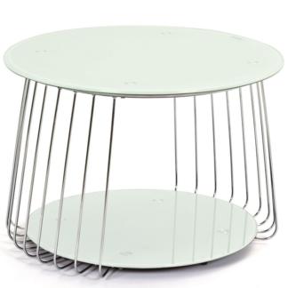 Konferenční stolek Riva, kov/bílé sklo