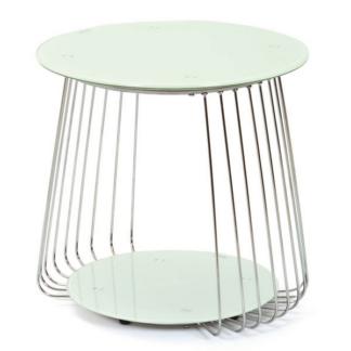Odkládací stolek Rivoli, kov/bílé sklo