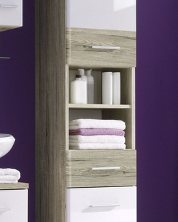 Koupelnová vysoká skříňka Barolo, dub san remo/lesklá bílá