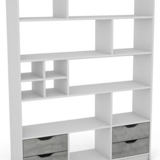 Regál/knihovna Sten 2, bílý/šedý beton