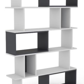 Vysoký regál/knihovna Cubix, bílý/grafitově šedý