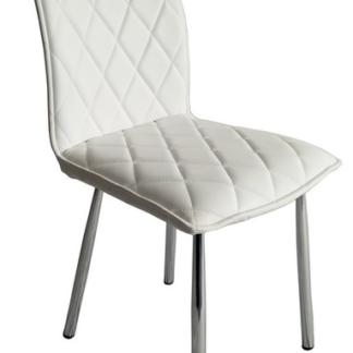 Jídelní židle Irina, bílá ekokůže