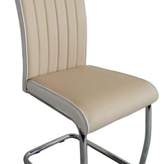 Jídelní židle Vertical, béžová/bílá ekokůže