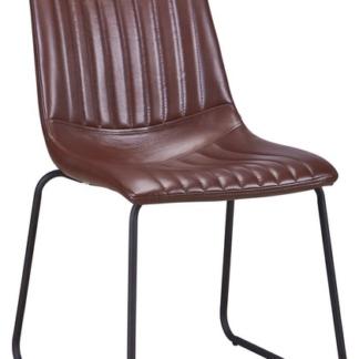 Jídelní židle Elis, leskle hnědá ekokůže