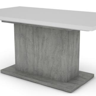 Jídelní stůl Paulo 160x90 cm, bílý/beton, rozkládací