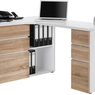 Rohový psací stůl Model 9543, bílý/dub sonoma