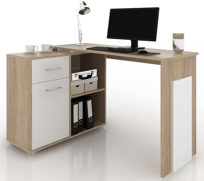Rohový psací stůl Andy, dub sonoma/bílá