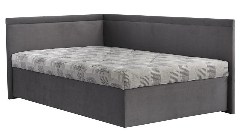 Rohová postel Travis levá 120x200, šedá látka