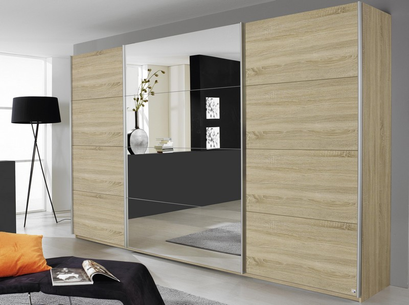 Šatní skříň Quadra, 315 cm, dub sonoma/zrcadlo