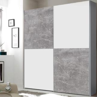 Šatní skříň Puls, bílá/šedý beton