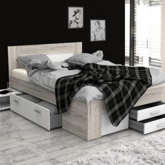 UDINE postel UDNL141, 140x200 cm, dub pískový/bílá