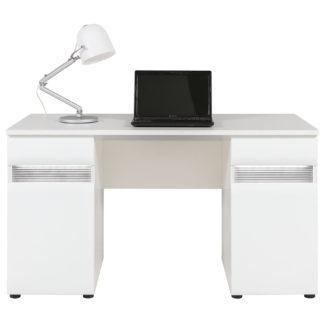 N12 - Psací stůl NEO N12 s LED osvětlením, vysoký bílý lesk/beton