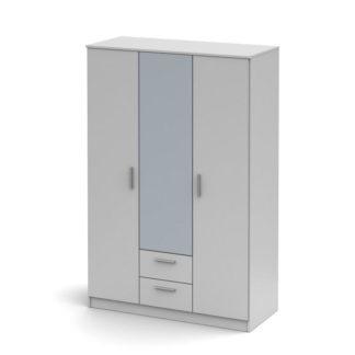 Šatní skříň třídveřová se zrcadlem SINGA 82 Tempo Kondela Bílá