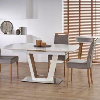 Jídelní stůl VALETTI rozkládací 160/200 bílá / dub zlatý Halmar