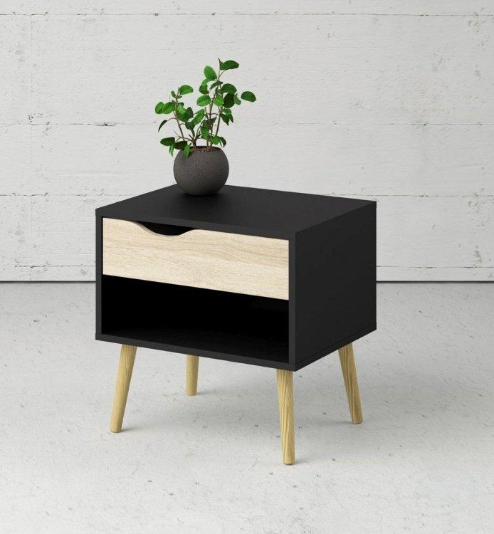 Retro noční stolek Oslo 75394 černý/dub sonoma - TVI