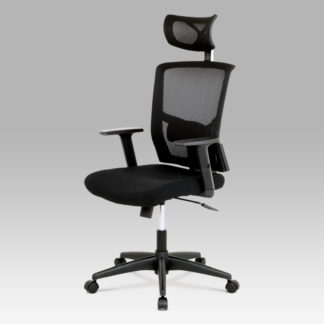 Kancelářská židle s podhlavníkem KA-B1013 BK, látka mesh černá,  houpací mechanismus