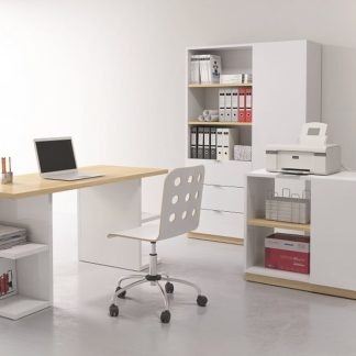 Kancelářská sestava DENTON typ 2, bílý lesk/dub polský